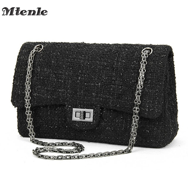 Best Offers MTENLE Women  39 s Handbags Women Crossbody Bags Luxury Brand  Designed Ladies Shoulder Bags Chain Weave Wool Messenger Bag Black F 525e60e1bad5f