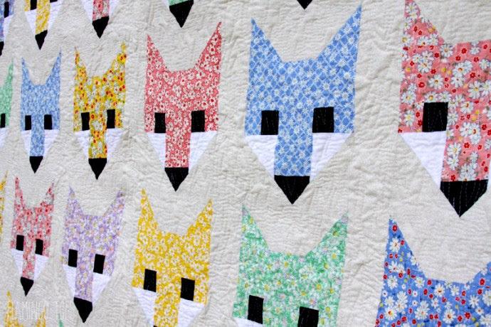 Cute Floral Fox Quilt