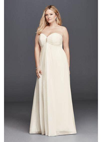 Plus Size Strapless Wedding Dress with Brooch   David's Bridal