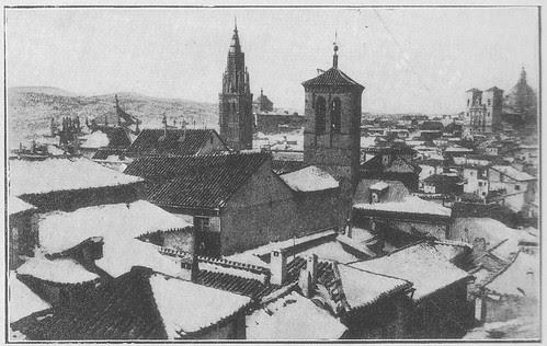 Iglesia de la Magdalena en un día de nieve a inicios del siglo XX. Colección Luis Alba