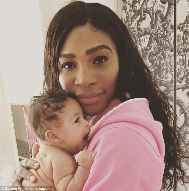 Mid-yawn:First-time mother Serena Williams shared a sweet snap of herself bonding with her two-month-old daughter Alexis Olympia on Monday morning