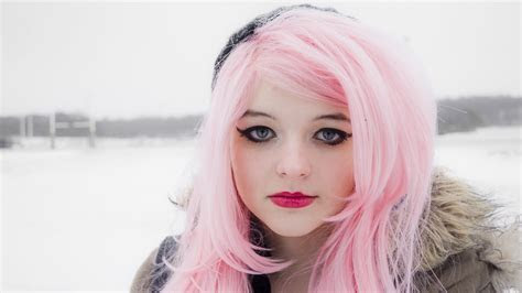 Full HD Wallpaper pink long hair winter mascara, Desktop