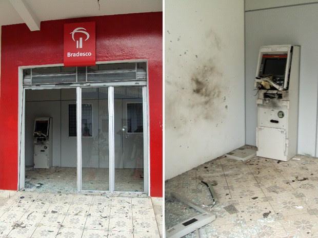 Criminosos explodiram caixa eletrônico em Marmelópolis, mas não conseguiram levar dinheiro (Foto: Rodrigo Júnior Ribeiro/VC no G1)