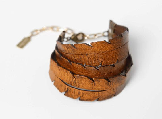 Hand Cut Triple Feather Leather Bracelet by thiefandbandit on Etsy, $35.00, women's accessories jewelry hippie bohemian fashin