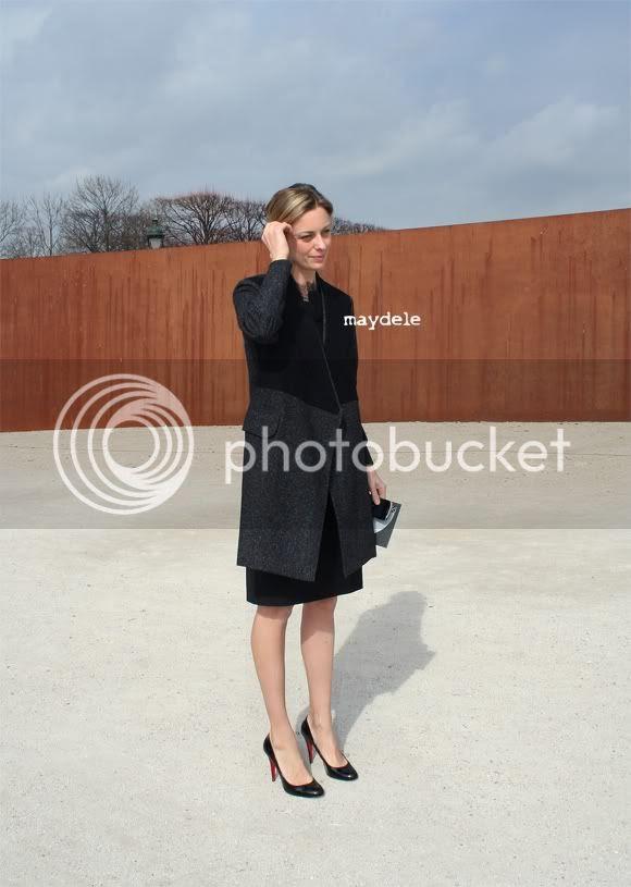 Jessica Diehl from Vanity Fair US wearing Yves Saint Laurent coat