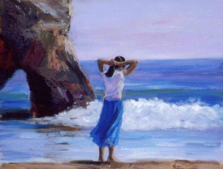 Oleo sobre tela Girl at the Beach de Karla Bogard.