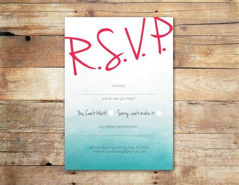Blue Ombree RSVP Card   Online Wedding Invitations Ireland