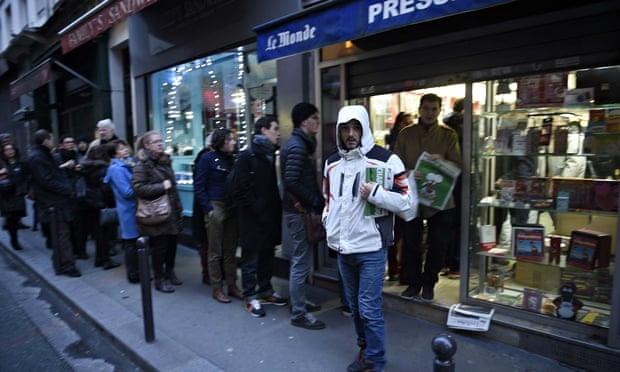 Charlie Hebdo on sale in Paris