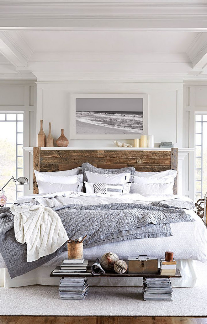 Reclaimed Wood Bed. Seaside bedroom with reclaimed wood bed. Coastal bedroom with Reclaimed Wood Bed. #ReclaimedWoodBed Via Decoholic.