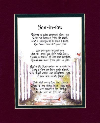 """Son In Law"" Touching 8x10 Poem, Double matted In Burgundy"