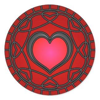 Black/Red Hearts & Swirls Sticker sticker