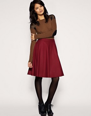 Image 1 of Warehouse Wool Mix Red Full Skirt