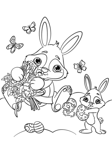 cute easter bunnies coloring page  free printable coloring pages