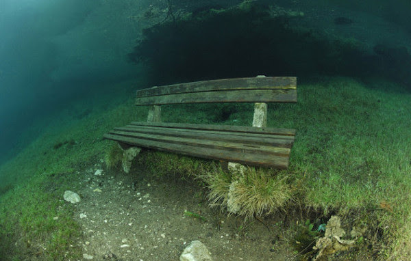 Wooden bench in overflowed Green Lake