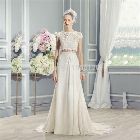 New Design Off White Lace 2 Piece Wedding Dress Chiffon