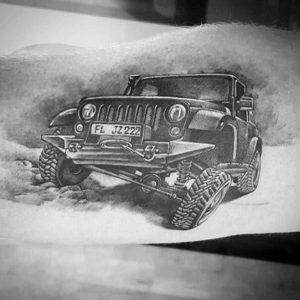 Tatuagens de jipe braço realista 3D impressionante para homens