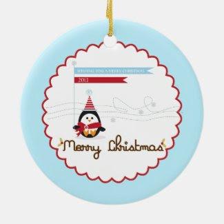 Merry Christmas {penguin} Ornament