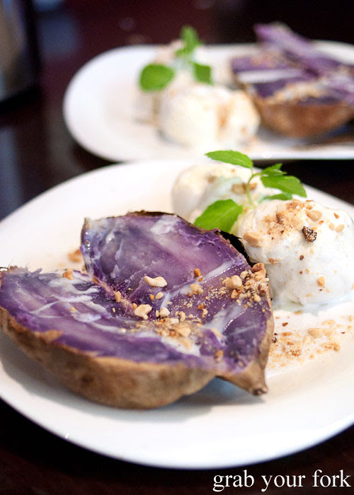 Grilled purple sweet potato dessert at Hai Au Lang Nuong Canley Vale