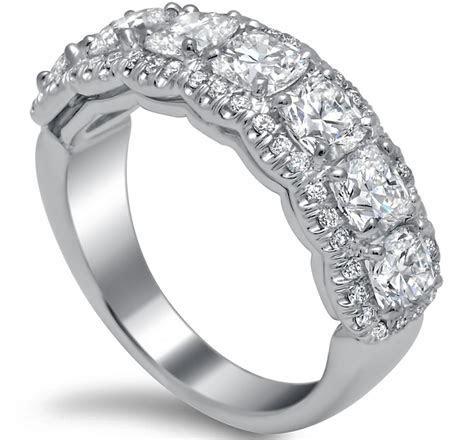 Seven Stone Cushion Diamond Wedding Ring 2.5 Carat Total