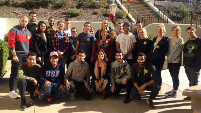 University of San Diego professor Bahar Davary and her students wearing the Muslim Stars of David.
