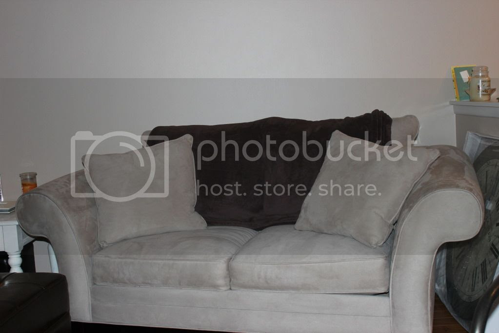 Loveseat with brown blanket