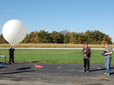 High school students in the BalloonSAT Exploring Post at Glenn   work with NASA scientists and engineers to launch a 6-foot diameter   weather balloon into the stratosphere