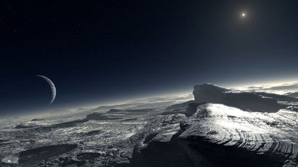 An artist's concept of Pluto's surface.