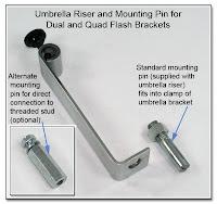 DF1045: Umbrella Risere & Mounting Pin for Quad & Dual Flash Brackets