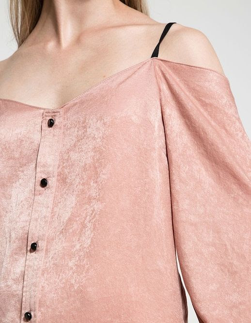 Le Fashion Blog Fall Style Pale Pink Satin Off The Shoulder Long Sleeve Top With Black Buttons Via Need Supply
