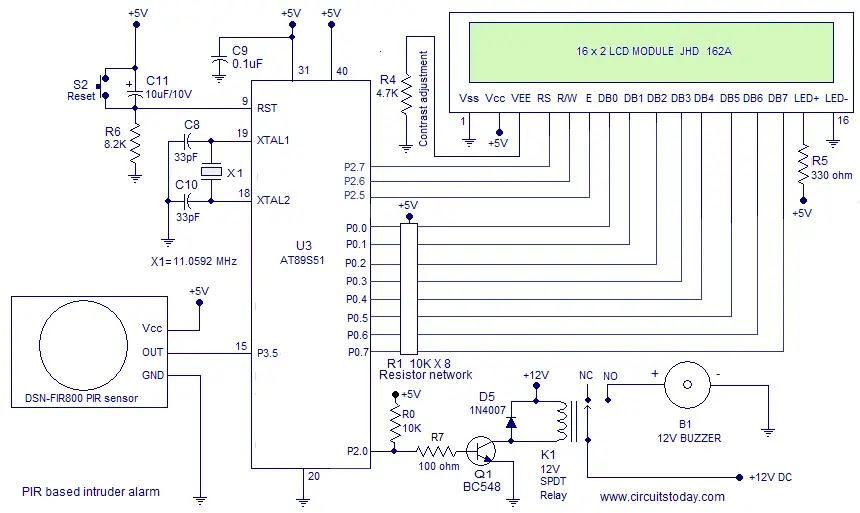 PIR intruder alarm circuit