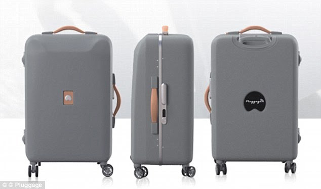 The innovative Pluggage bag charges your mobile and also lets its owner know when it's made it on board