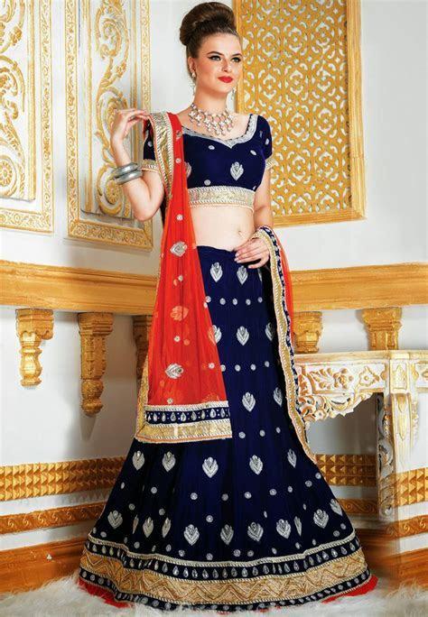 Navy Blue Velvet Lehenga Choli with Dupatta Online
