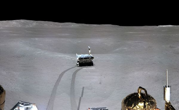 A snapshot of the Yutu-2 rover that was taken by the Chang'e 4 lander on the far side of the Moon.