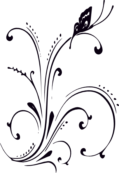 Black And White Butterfly And Scrolls Clip Art At Clkercom Vector