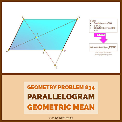 Geometric Art Typography of Geometry Problem 834: Parallelogram, Diagonal, Similarity, Geometric Mean, iPad Apps.