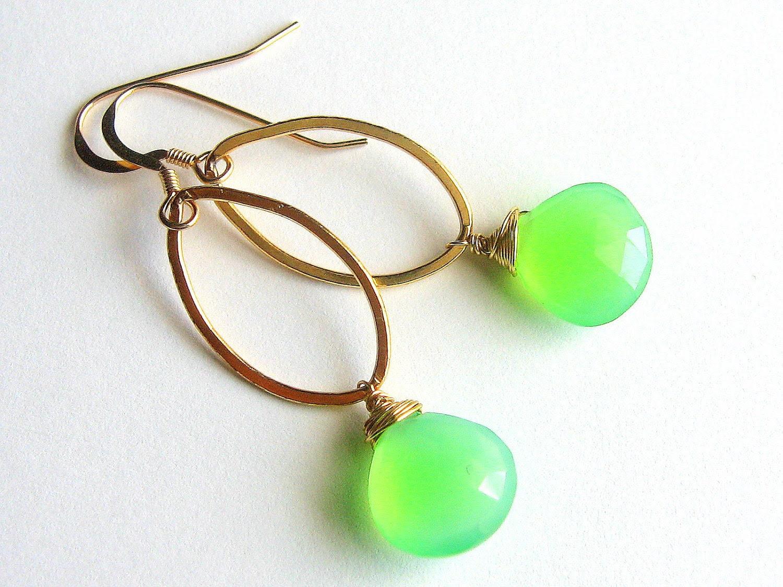 Green Teardrop Earrings, Gold Fill Hoops, Apple Green Chalcedony