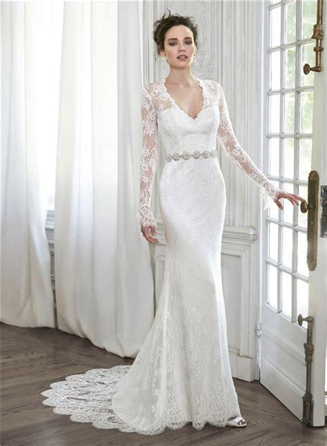 Elegant Mermaid V Neck Illusion Back Long Sleeve Lace
