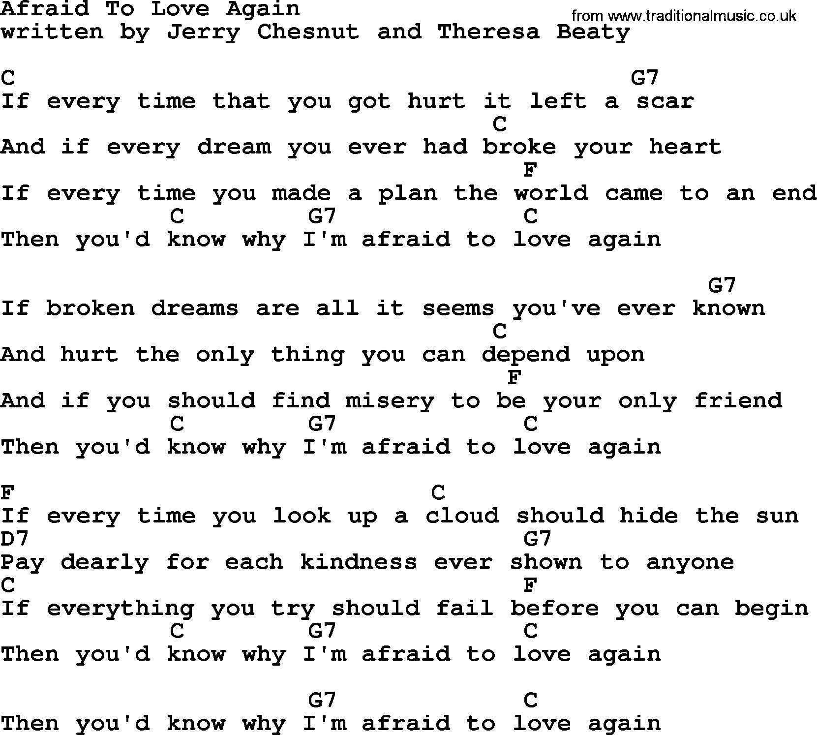 Afraid To Love Again Bluegrass Lyrics With Chords