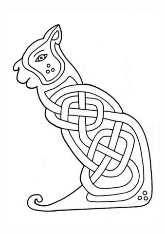 celtic cat design coloring page  printable coloring