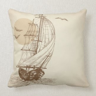 Vintage sailboat pillows