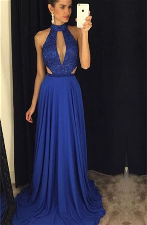 Newest High Neck Royal Blue Prom Dress 2019 Lace A line