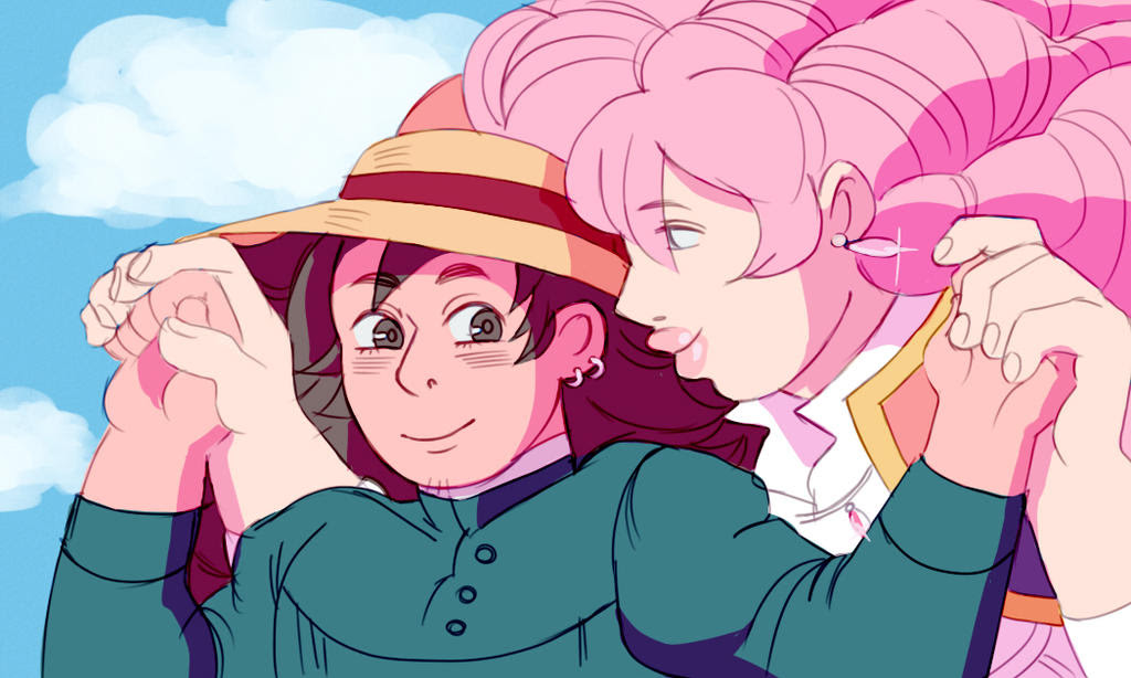 I did this with an obvious reference to Ghibli's movie Howl's Moving Castle Rose is Howl and Greg is Sophie