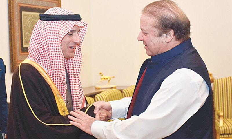 Caption Saudi Foreign Minister Adel bin Ahmed Al-Jubeir shaking hands with Prime Minister Nawaz Sharif before their meeting at the PM House. (Dawn.com)