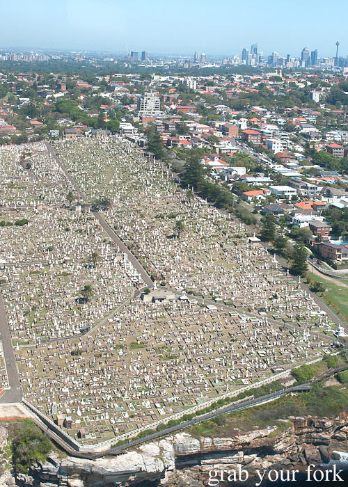 Bondi Helicopter flight aerial view over Waverley Cemetery, Sydney
