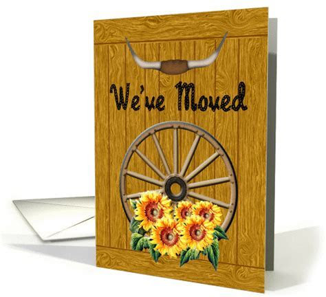 Sunflower We've Moved Announcement  Wagon Wheel