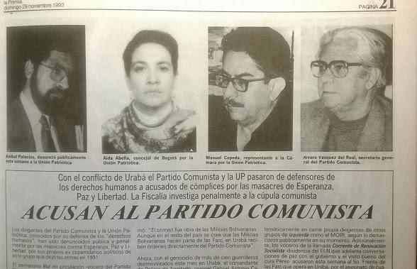 El partido Comunista ayudó al exterminio de la Unión Patriótica. Cuestión de estrategia