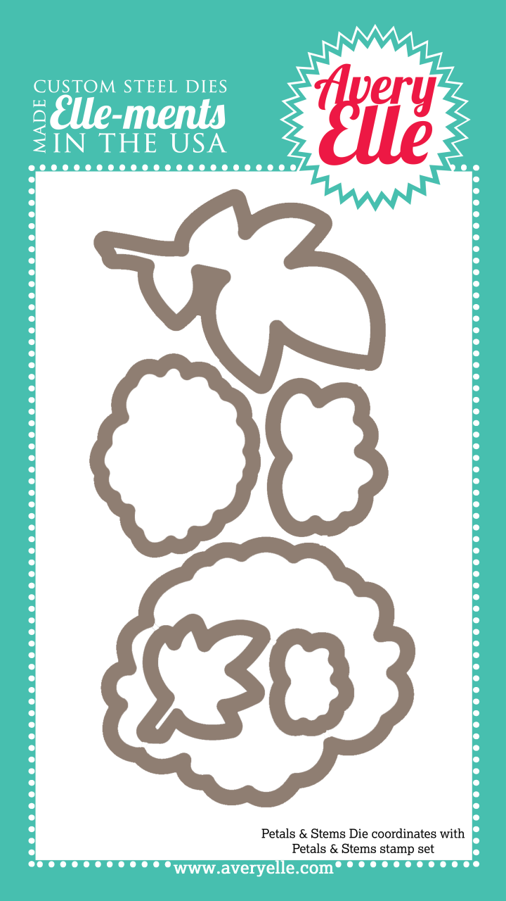Our Petals & Stems Elle-ments Custom Steel Die are exclusive to Avery Elle.  These premium steel dies coordinate with our Petals & Stems clear photopolymer stamp set and are proudly made in the USA.