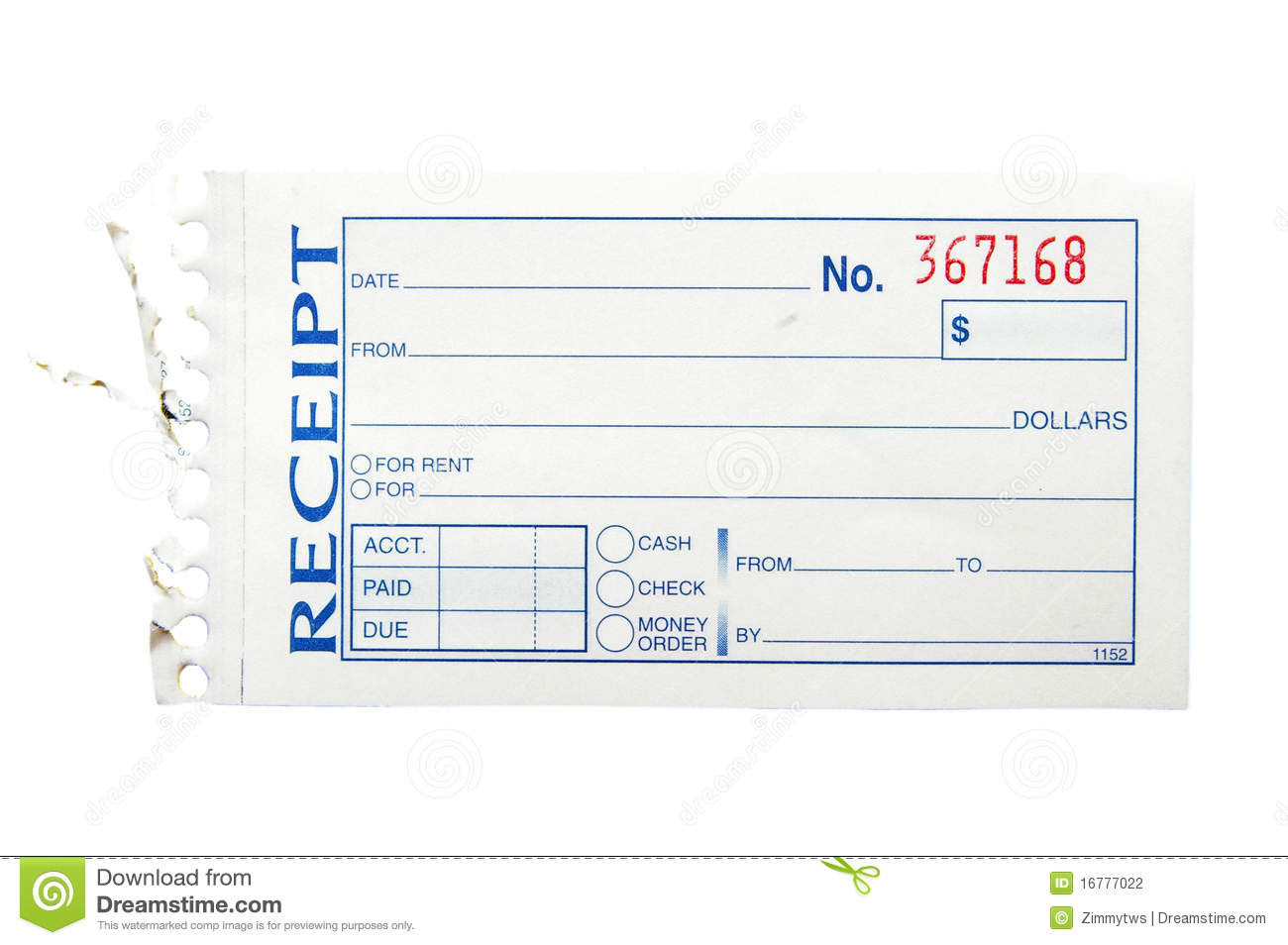 Blank Receipt Stock Photography - Image: 16777022