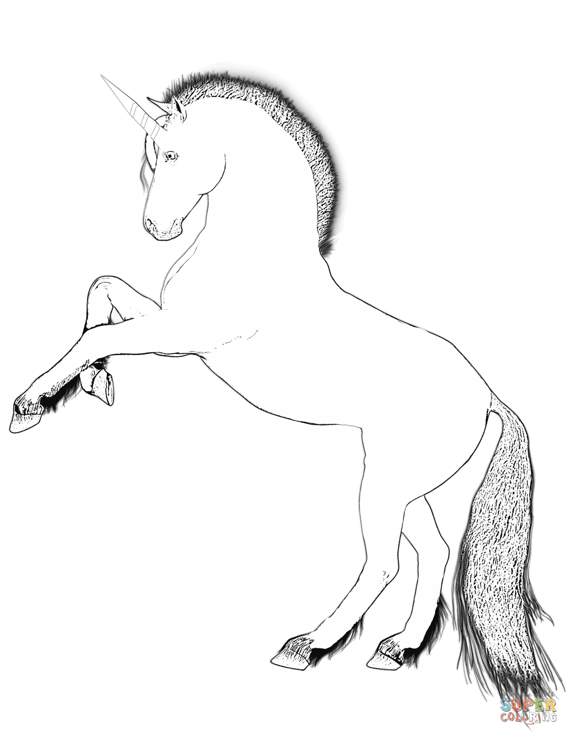 Rearing Unicorn coloring page | Free Printable Coloring Pages