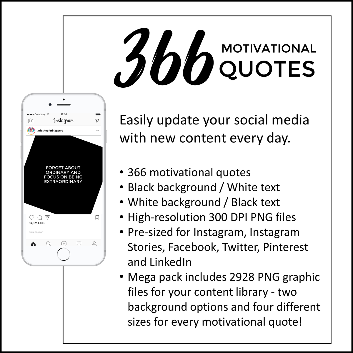 Social Media Motivational Quotes Note Design Black And White